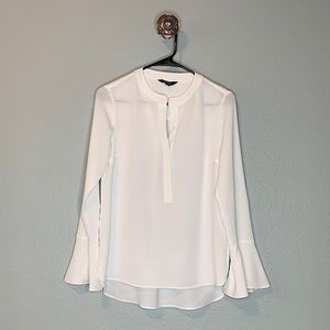 Simply Vera Vera Wang White Bell Sleeve Top Shirt